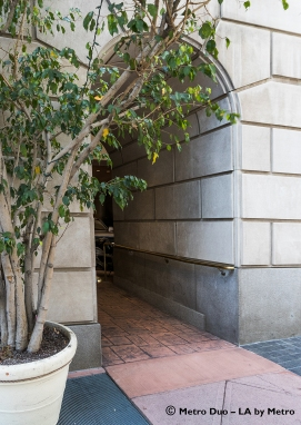The main entrance to the Biltmore is through this archway on 5th Street. It can also be accessed from Grand Avenue.
